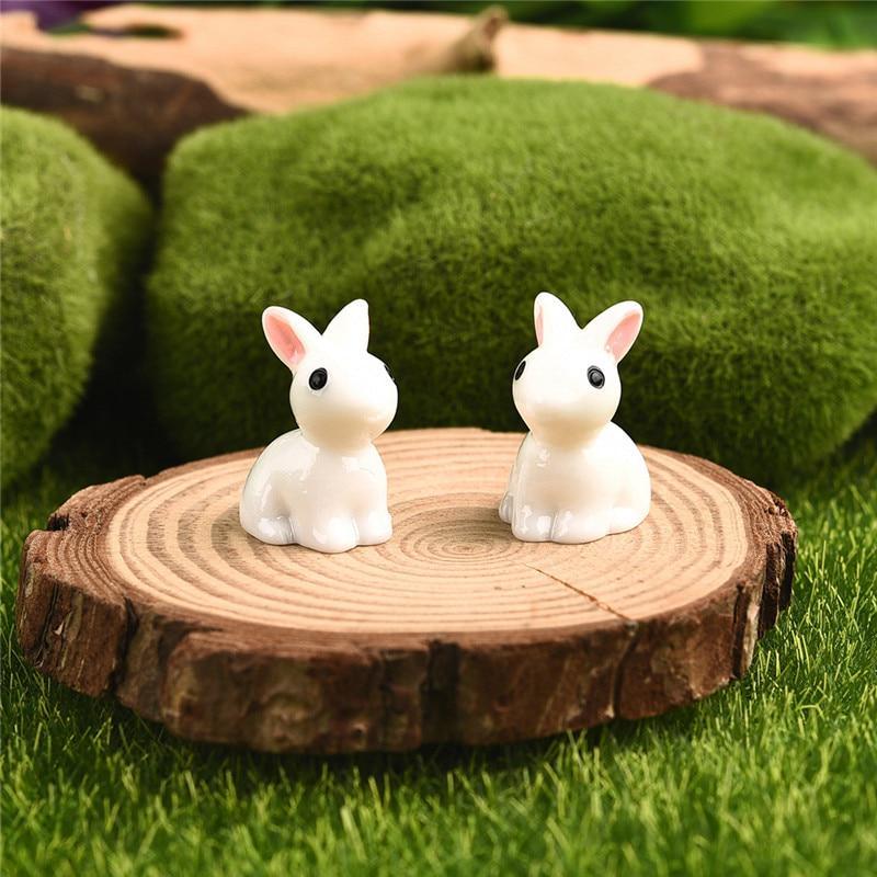 2pcs/pair Mini Rabbit Ornament Миниатюрная фигурка Фея Сад Декор фото