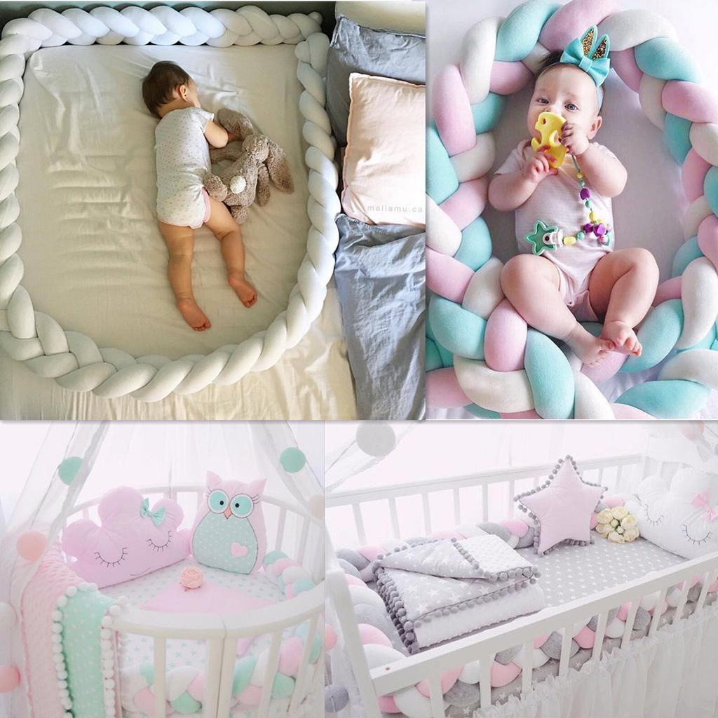 1//2//3M Knot Cot Bumper Braid Pillow Nursery Braided Kids Bed Decor Crib Nursery