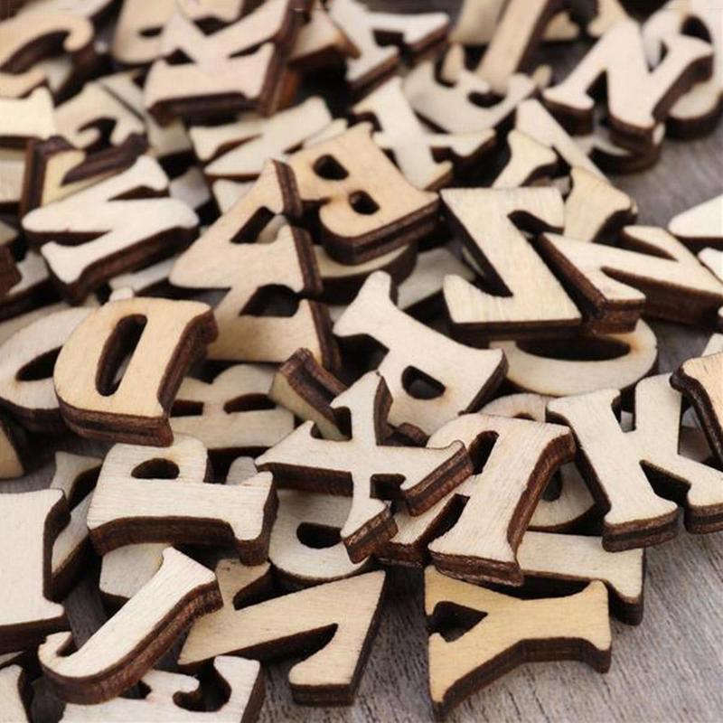 100pcs Wooden Alphabet Letters Embellishments Scrapbooking Cardmaking DIY Craft