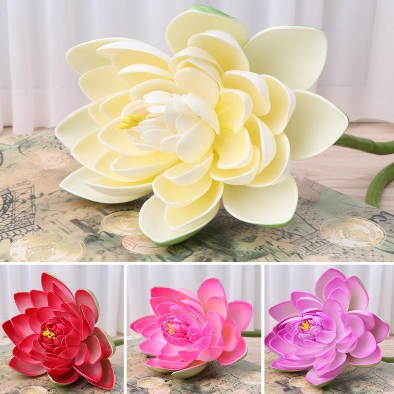 Artificial Lotus Lily Bouquet Fake Flower Home Silk Plant Garden Decoration