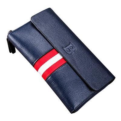 fb6d1dee52ea Роскошные мужчины кошельки пэчворк клатч бизнес случайный большой емкости Кошелек  кожаный