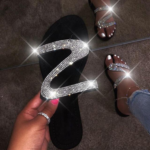 New Womens Bling Rhinestone Crystal Slide Jelly Sandal Flip Flops Thong Open Toe
