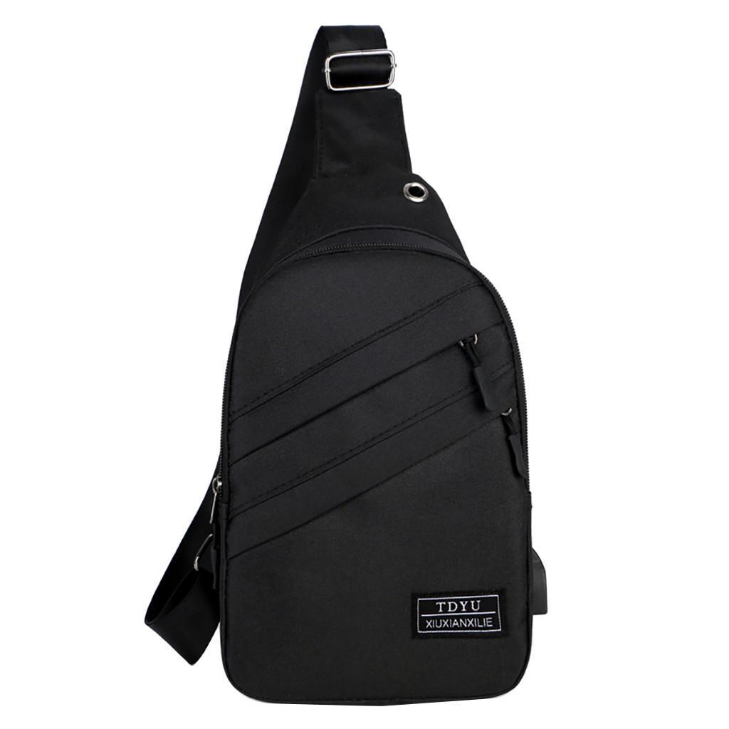 Men Simple Small Bag Casual Wild Messenger Bag Fashion One Shoulder Plaid Chest Bag Shoulder Bag