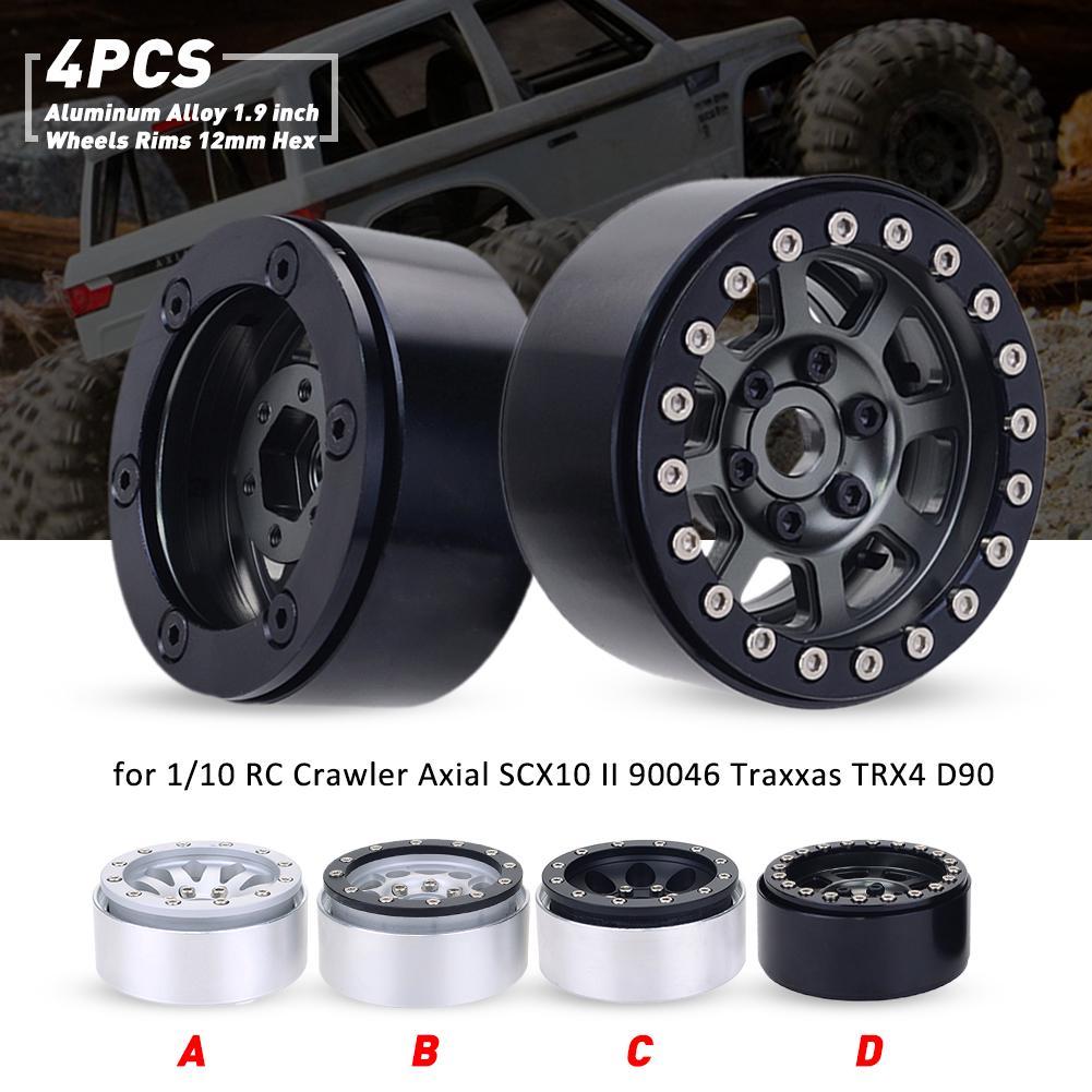 4pcs 1.9Inch 114mm RC Crawler Tires and Silver Metal Wheel Rims 12mm Hex Hub