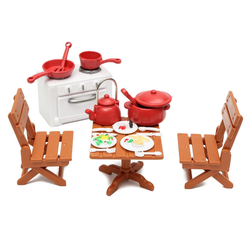 Plastic Dining Table Chairs With Cooking Tools Miniature Kitchen Doll House  Furniture Toy Set Gifts