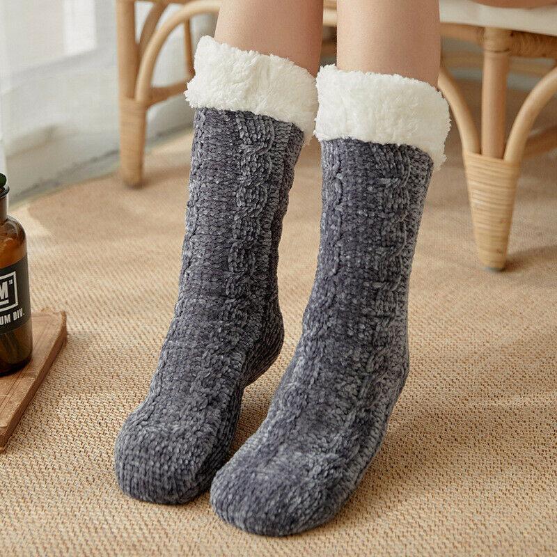 Ladies Soft Fluffy Fur Slipper Fleece Bed Sock Women Socks Winter Warm Lined