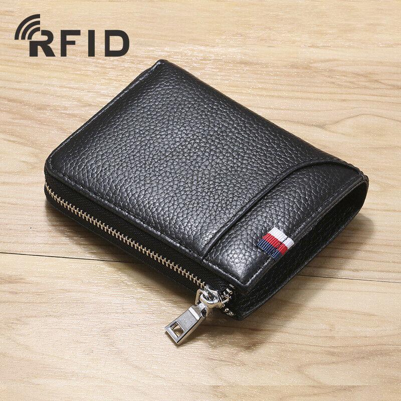Men/'s 100/% Cowhide Leather Billfold Wallet RFID Blocking Card Holder Coin Purse