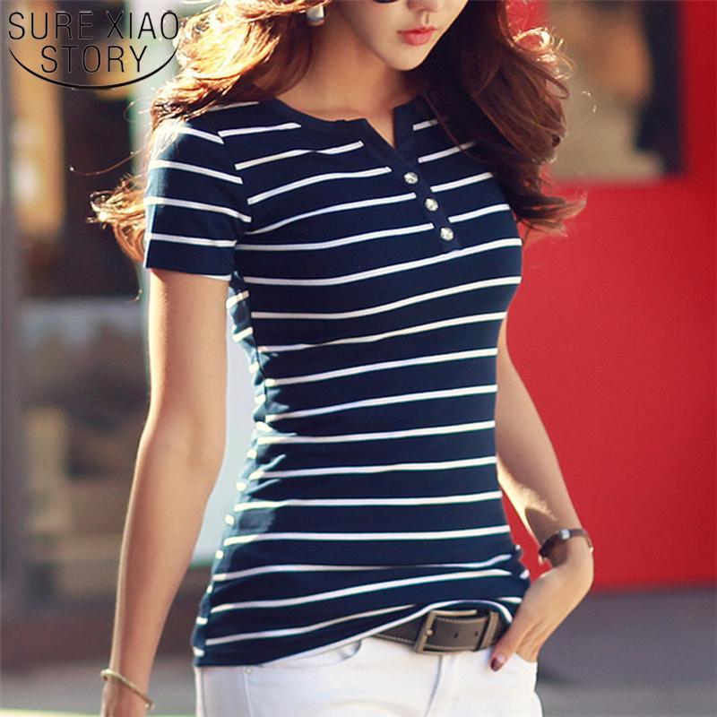SURE XIAO STORY 2019 Летние top Рубашки V-образный вырез футболка женщины короткие рукава случайные футболки Белая полоса фото