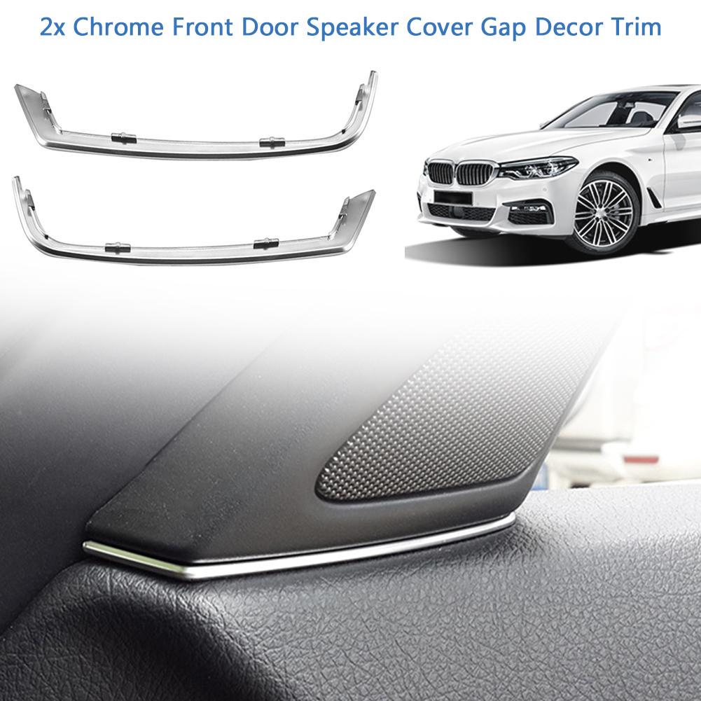 2x Chrome Front Door Speaker Cover Gap Decor Trim For BMW 5 Series F10 2014-2015