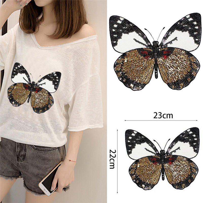 Butterfly Embroidery Beads Rhinestone Patches for Coat Jeans Sewing Handmade