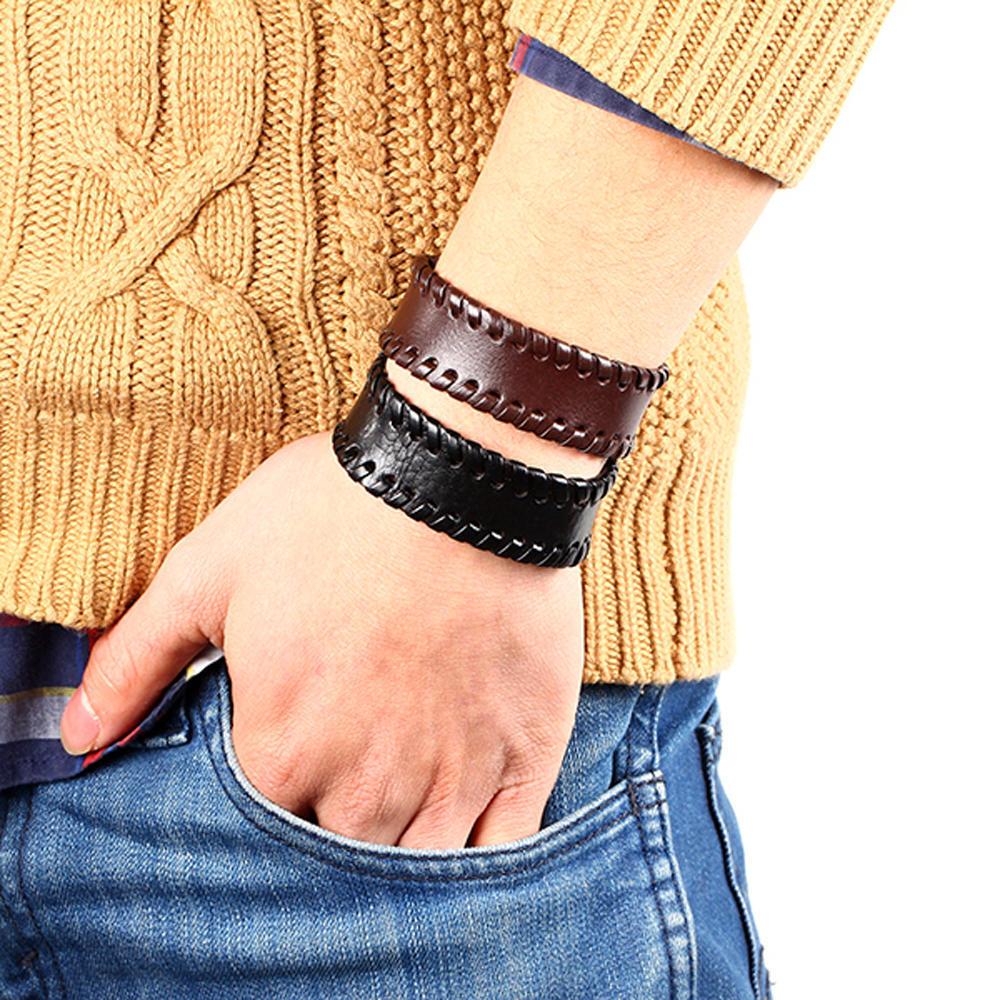 Vintage Punk Leder mehrschichtige Wrap Manschette Armreif Armband Schmuck