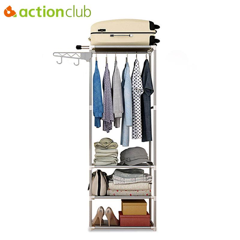 Bathroom Shelves 1pcs Portable Clothes Rack Organizer Bedroom Garment Floor-standing Shelf Clothing Coat Rack Storage Stand Home Improvement