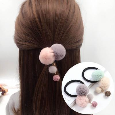 Women Girls Hair Ties Ropes Pompon Elastic Hair Bands Scrunchies