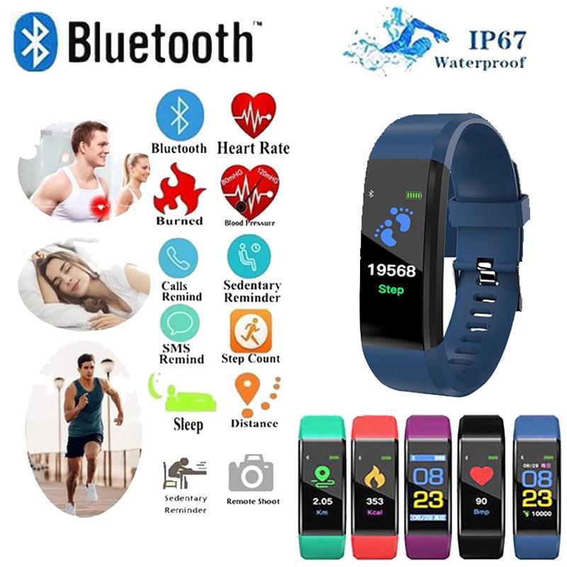 Anti-Lost Ipx5 водонепроницаемый педометр Smart Bluetooth Часы Шаг Сердце Монитор монитор wristwatch фото