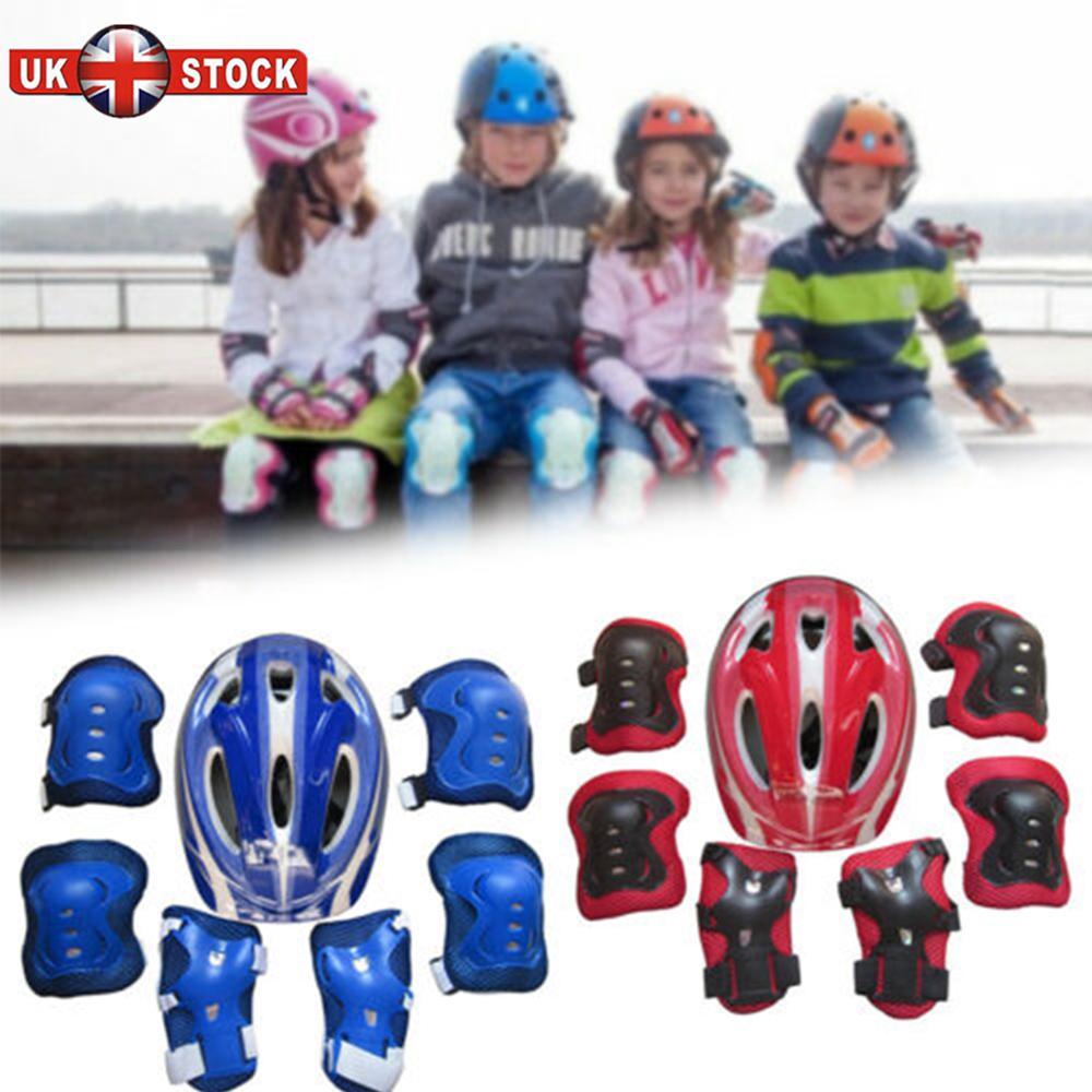 7Pcs Boys Girls Kids Skate Cycling Bike Safety Helmet Gift Elbow Shop Pad UK
