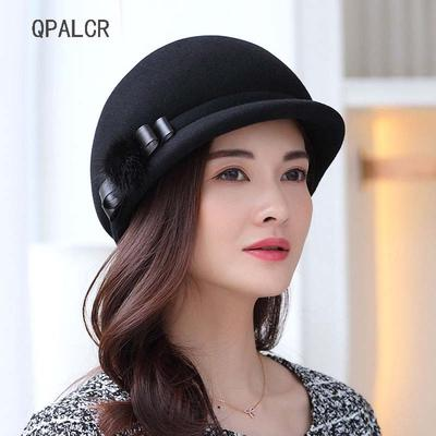fe601457111105 Fascinator Wool Felt Hat For Women Fedoras Female Berets Winter Black  Church Cap Retro Bow Top