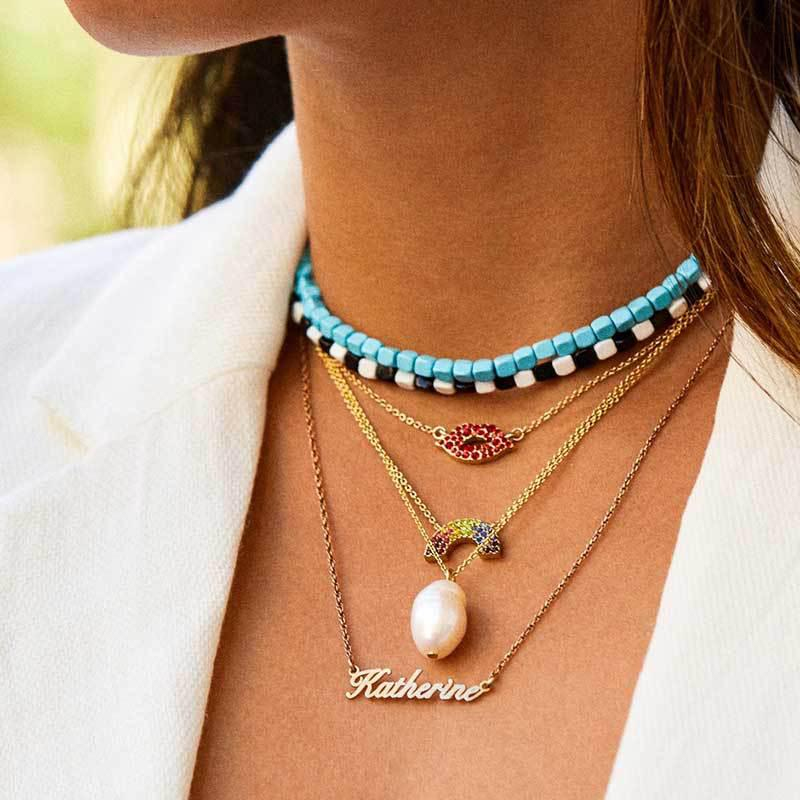 Womens Ladies Statement Aqua Blue Stone Bead Faux Pearl Gold Chain Necklace