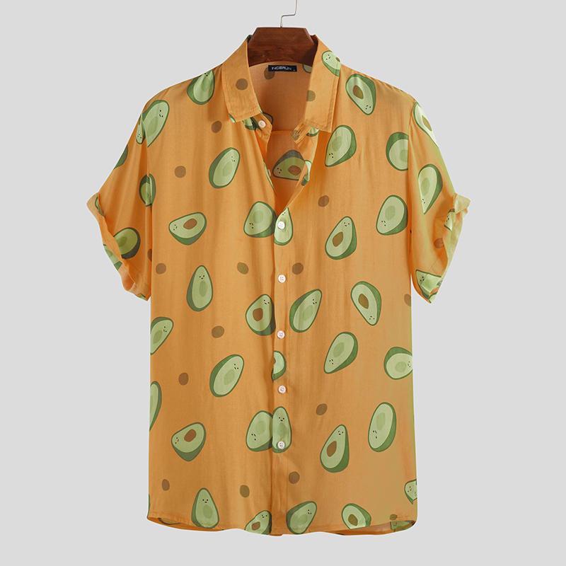Men/'s Hawaiian Avocado Printed Shirts Short Sleeve Beach Casual Baggy Top Blouse