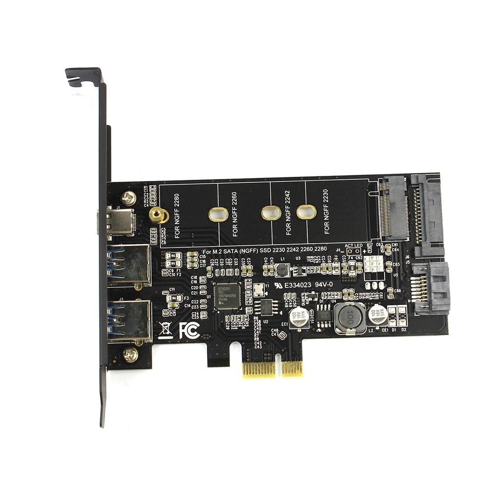 USB 3.1 C type to M.2 and mSATA 2.5 Inch SSD Enclosure Simultaneous