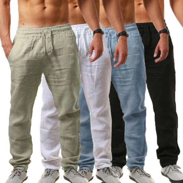 Летние новые мужские льняные брюки Мода Твердый цвет Прямые брюки Beachwear Joggers – купить по низким ценам в интернет-магазине Joom