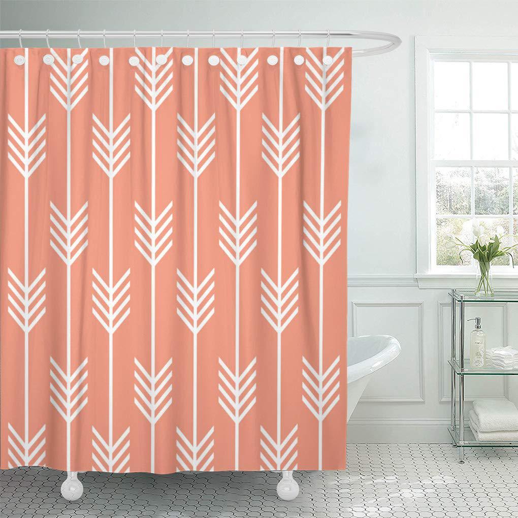 orange feather modern arrow fletching pattern geometric pastel shower curtain 66x72inch 165x180cm