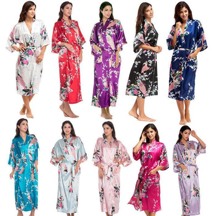 Женское сексуальное шелковое атласное платье-халат, платье-кимоно с цветочным принтом павлина, пижамы, кардиганы, осенние халаты – купить по низким ценам в интернет-магазине Joom