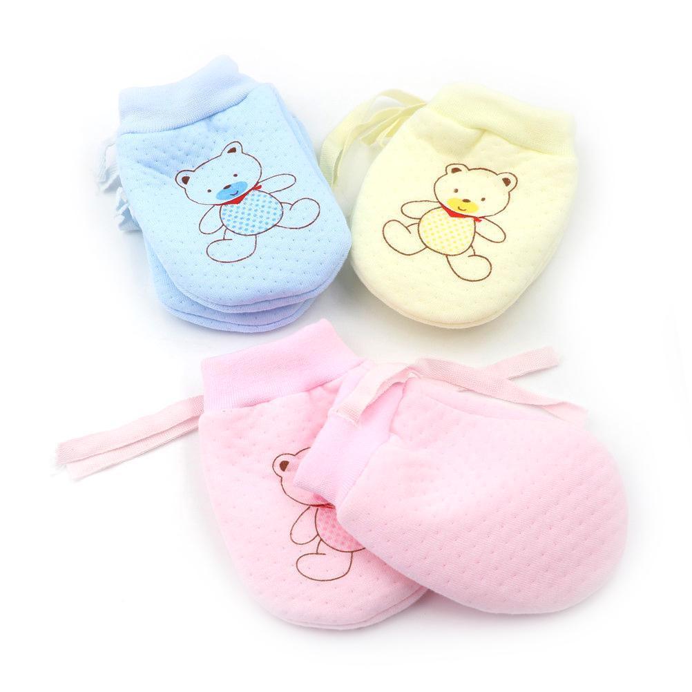 1Pairs BabyGloves Cute Baby Infant Anti Scratch Mittens Soft Newborn Rope Gloves