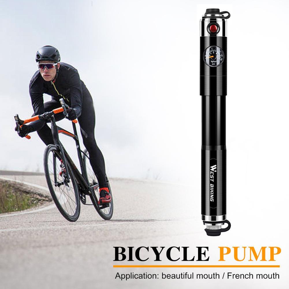 WEST BIKING Bicycle Air Pump Portable Mini Tire Inflator with Pressure Gauge