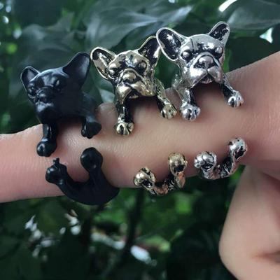 Punk 3D French Bulldog Animal Rings Necklace Jewelry Set Pet Lover Gift for Women Men