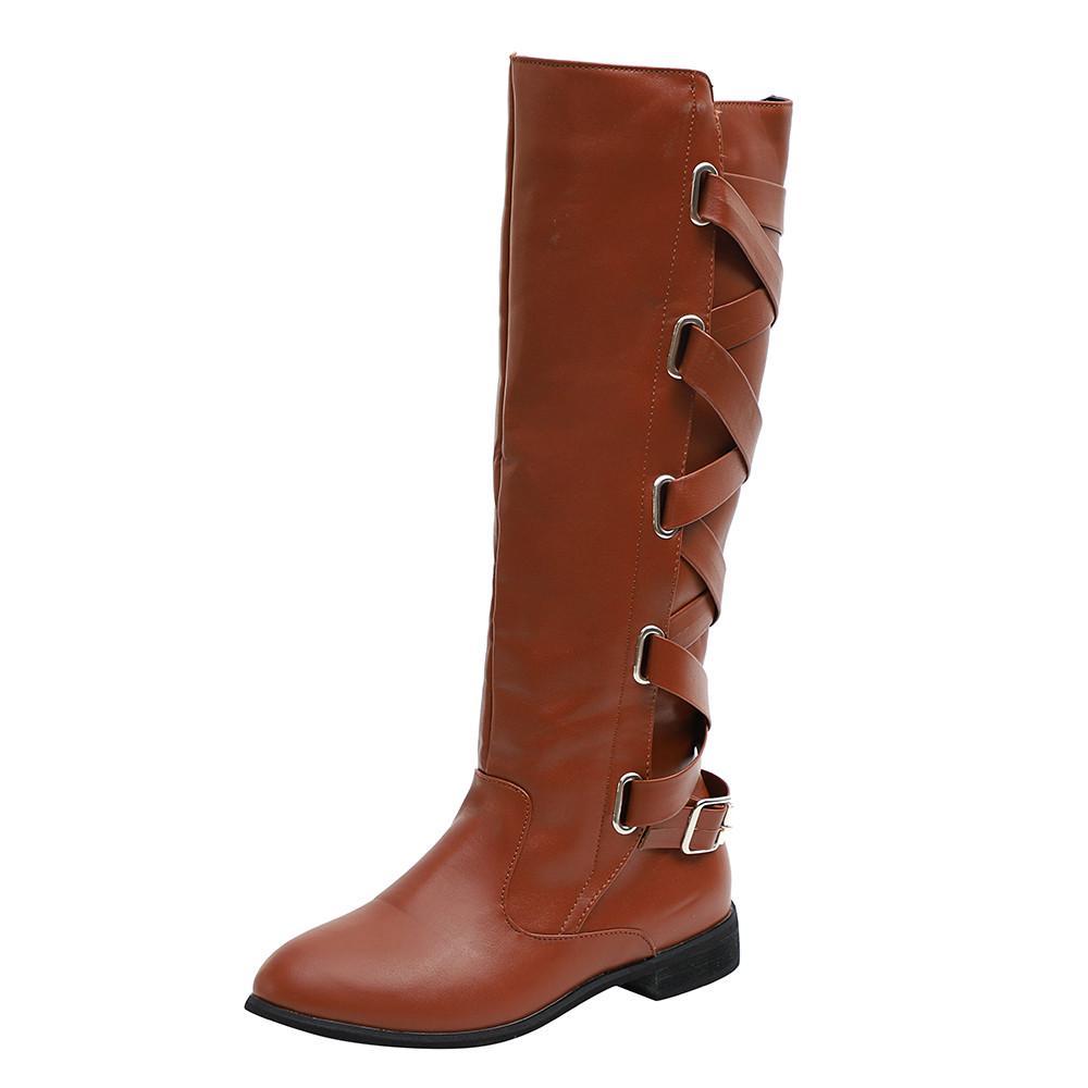 Botas de las mujeres señoras zapatos romano hebilla rodilla alto ... 028a07221fc4