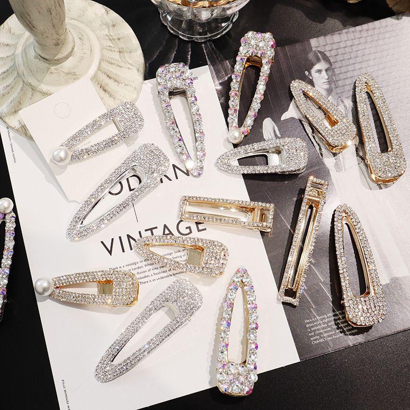 2Pcs Set Fashion Women Pearl Rhinestone Hair Clip Barrette Snap Hair Accessories