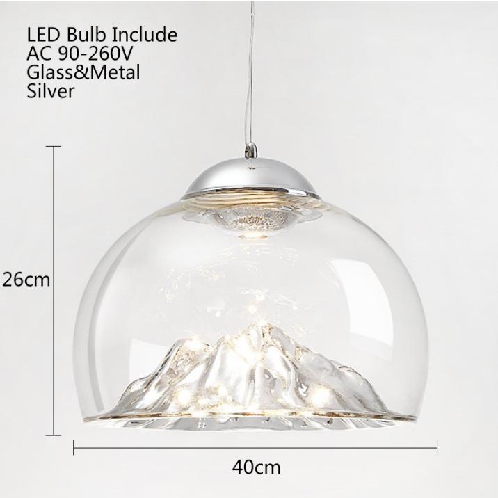 Novelty Glass Mountain Pendant Light, Chandelier Hanging Mountain
