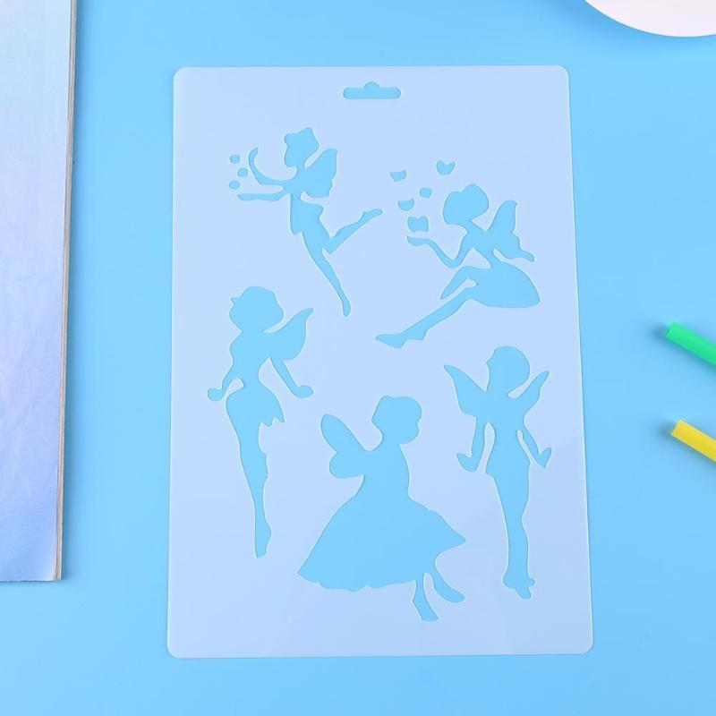 Hollow Ruler Template Stencil Drawing Tool Photo Album Kids DIY Craft Toys Angel