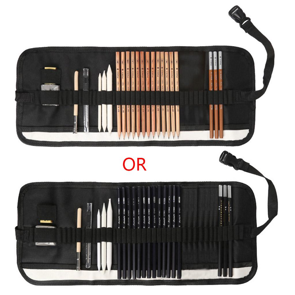 Mwergkou Sketch Drawing Pencil Professional Charcoal Sketch Tool Brush Set Student With Rubber Art Brush Set