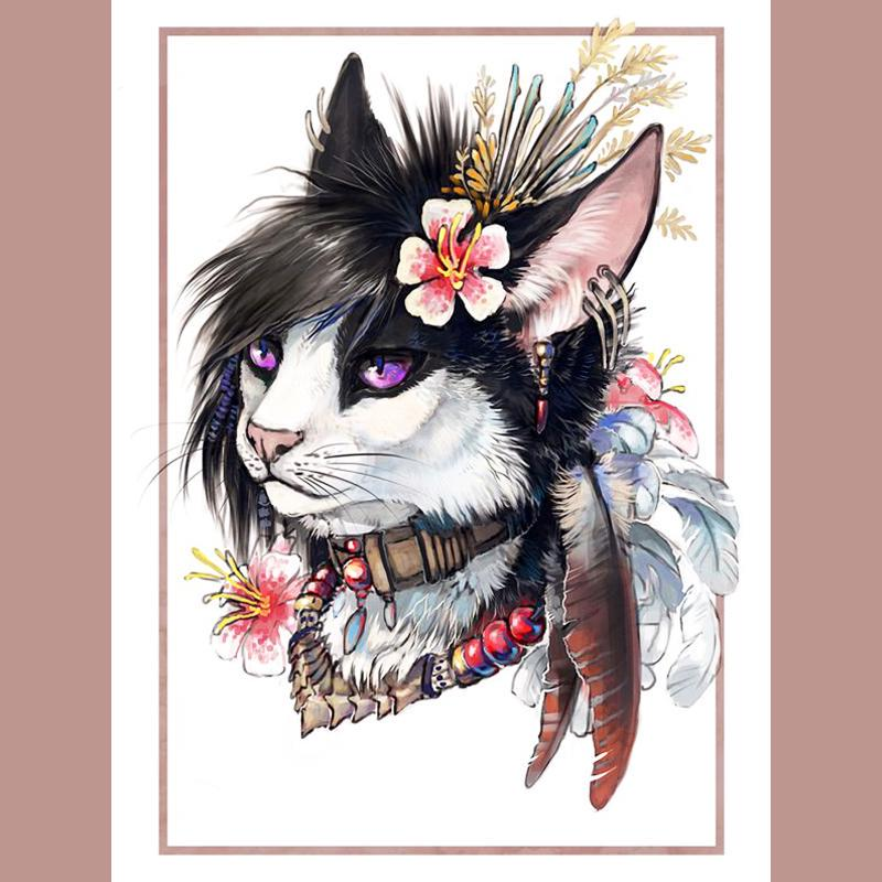 5D diy diamond painting Cross Stitch 3d Diamond Embroidery mosaic pattern Cat animals picture home decor gift