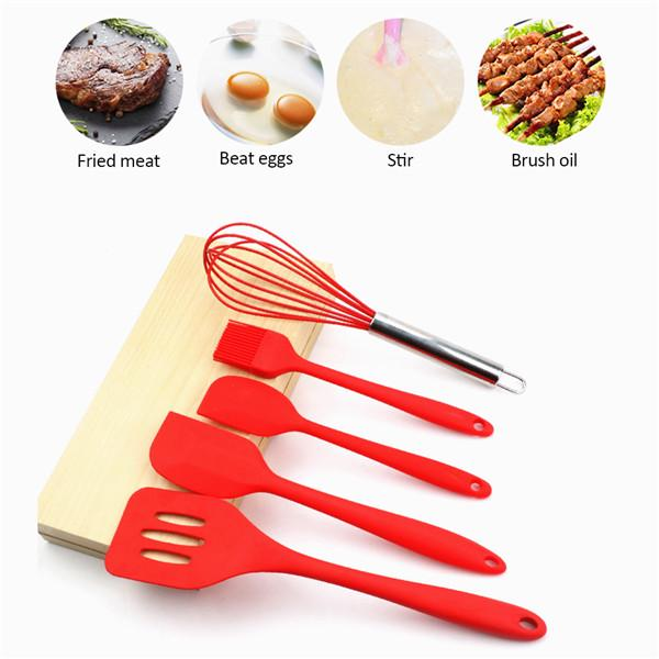 6pc Kitchen Non-Stick Red Silicone Utensils Gift Set Cooking Spatula Baking Tool