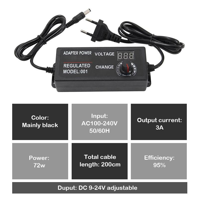 60W 5A Steckernetzteil regelbar 3-12V Schalt Netzteil Trafo Schaltnetzteil