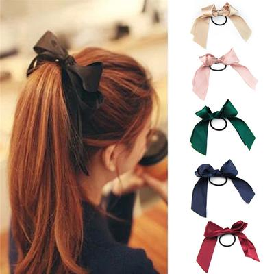 3Pieces New Women Girl Ribbon Bow Ponytail Holder Hair Tie Rope Rubber Bands