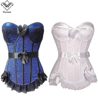 089424f243afe Women Sexy Lace Steampunk Corset Gothic Clothing Bow Bustiers Lace Up  Basque Wedding Party Dress Top
