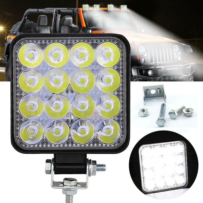 Mayitr Square 48W LED Work Light 12V 24V Off Road Flood Spot Lamp for Car Truck SUV 4WD