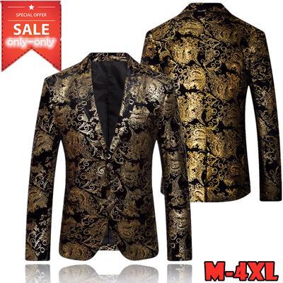 Fashion Men Dress Floral Suit Notched Lapel Slim Fit Stylish Blazer Coat Jacket