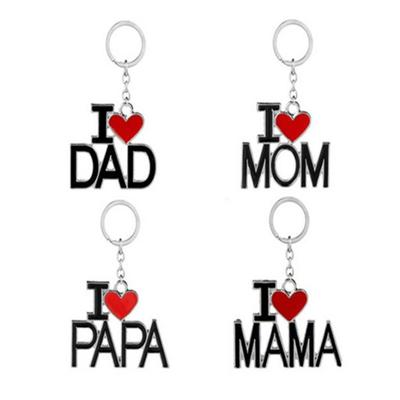 Creative Men Women Metal Keychain Keyring I LOVE PAPA/DAD/MAMA/MOM Gift