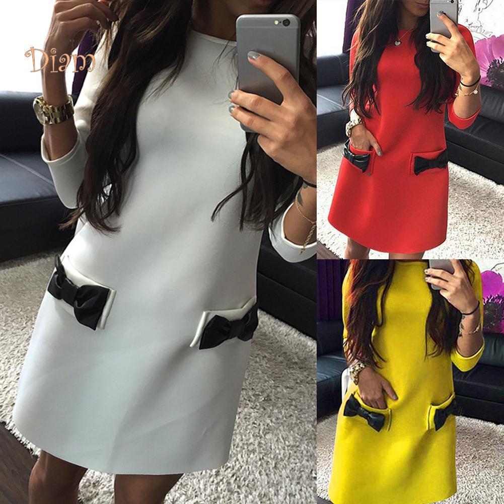 TOP-FASHION-women Bowknot Карман 3/4 рукав круглый шеи Мини-участник платье – купить по низким ценам в интернет-магазине Joom