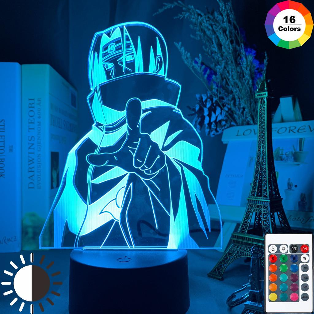 Anime Naruto Uzumaki Itachi LED Night Light Kids Bedroom 3D Lamp Decoration Gift