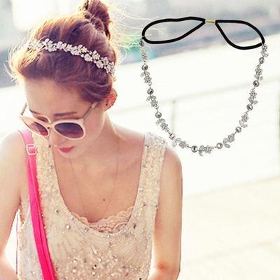 b01a1bc089e0 Mejor cabeza de diamante de imitación Metal elástico moda cadena joyería  diadema cabeza pelo banda
