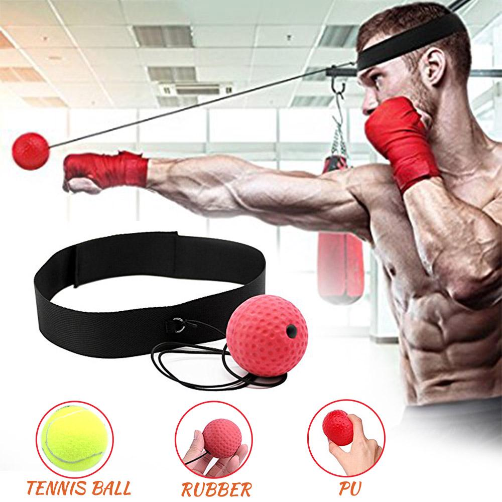 Boxing Punch Exercise Fight Ball Head Band Reflex Speed Training Speedball
