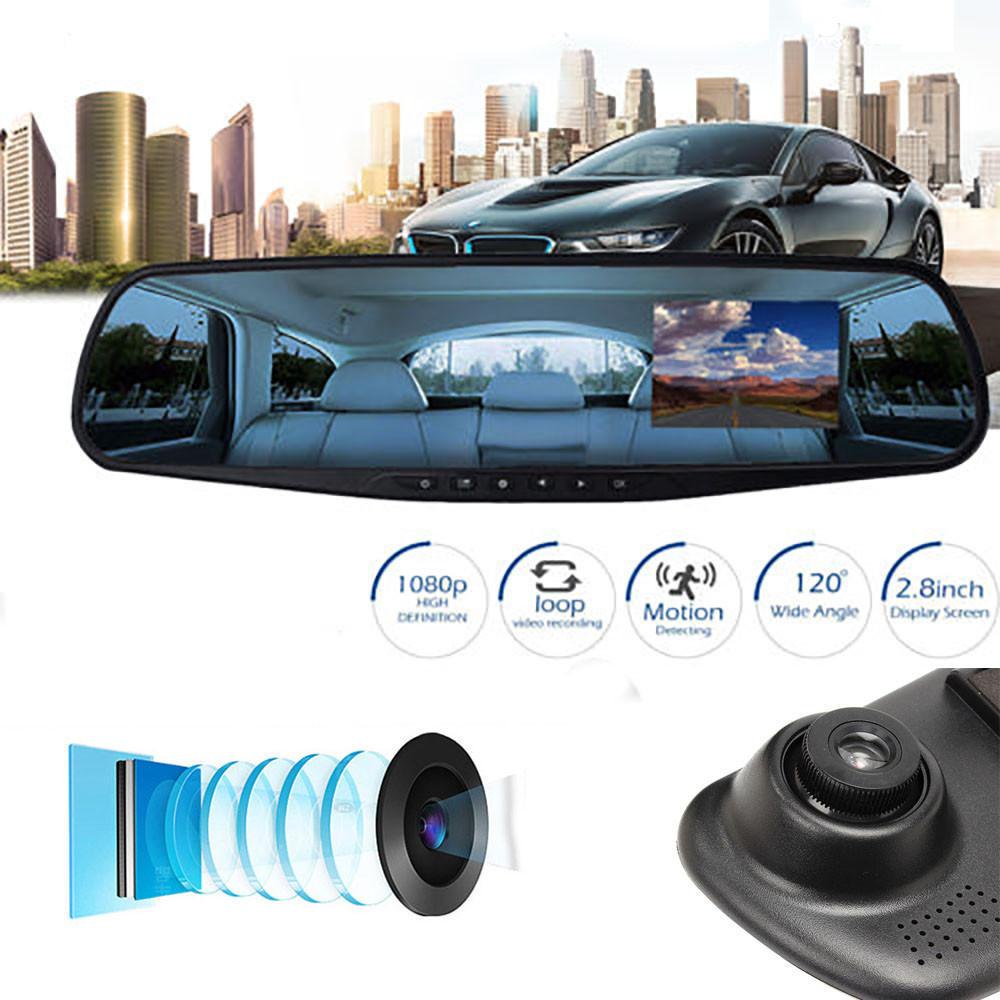 1080P 2.8-дюймовый HD LCD зеркало камеры HD автомобиля DVR камеры рекордер приборной панели автомобиля – купить по низким ценам в интернет-магазине Joom