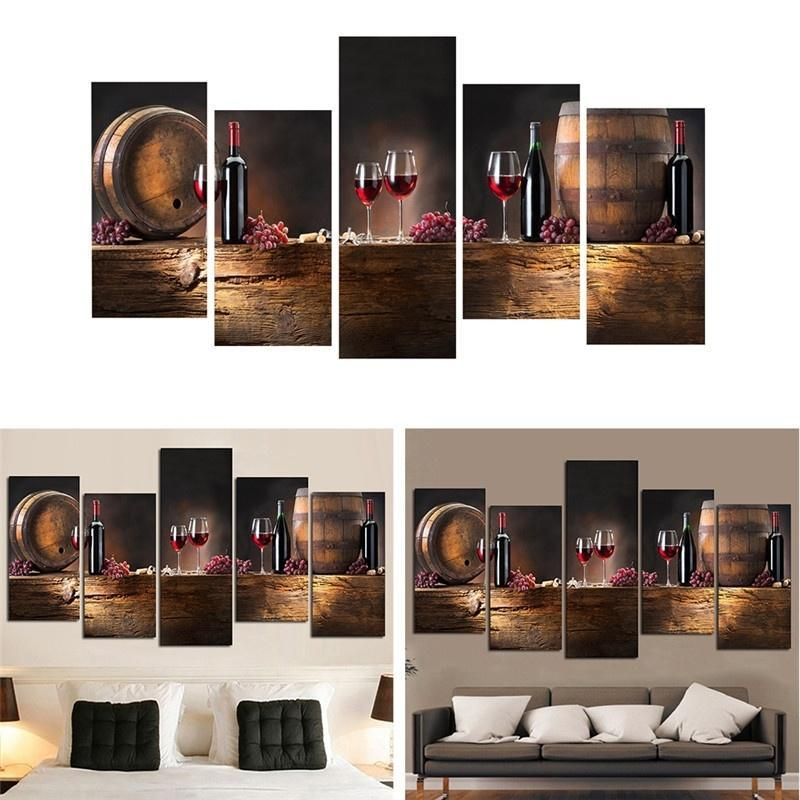 5 piezas sin marco grande rojo vino impresión pintura lienzo pared ...