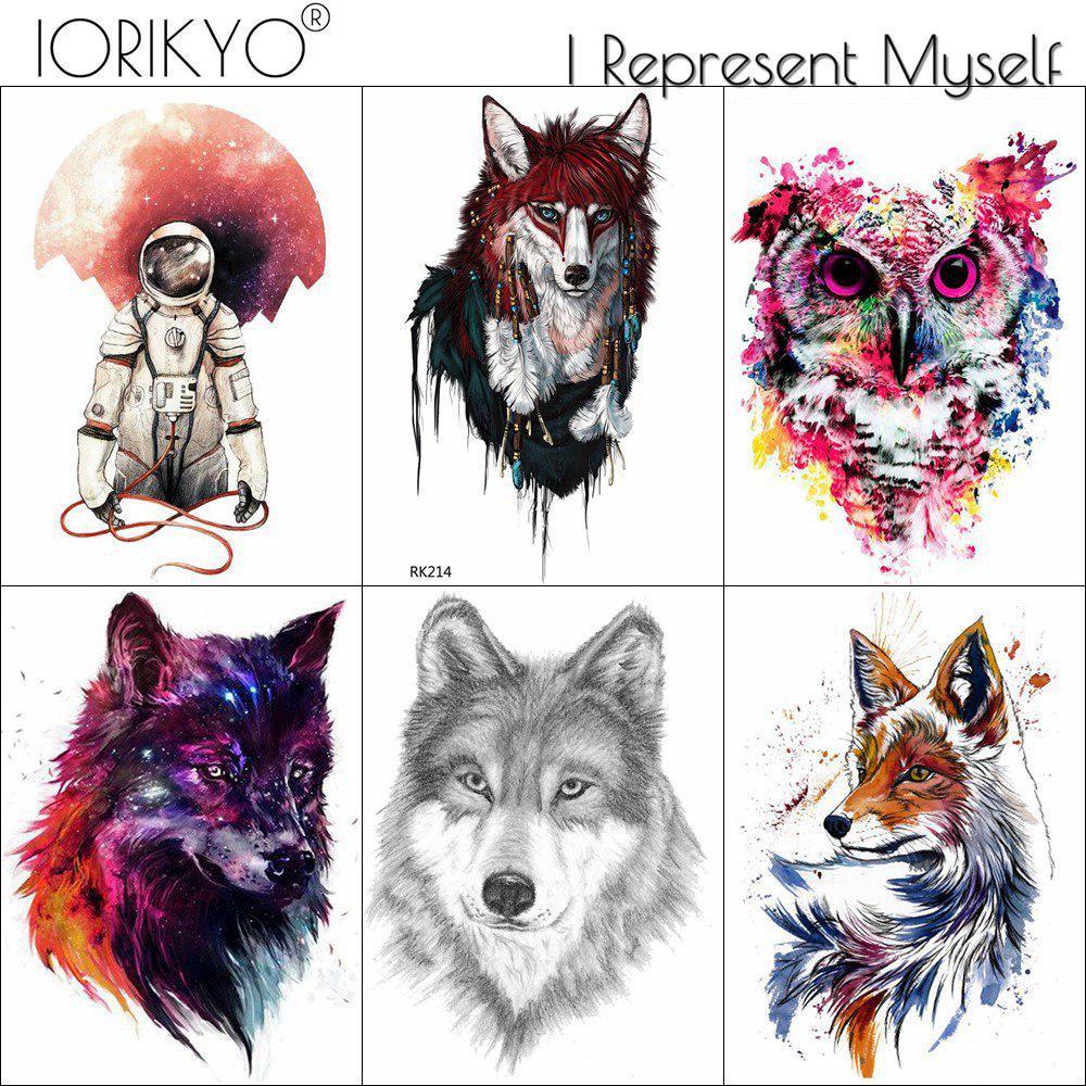 5c207bf4c 3 Pieces Same Style IORIKYO Flash Tribal Fox Temporary Tattoo Pencil ...
