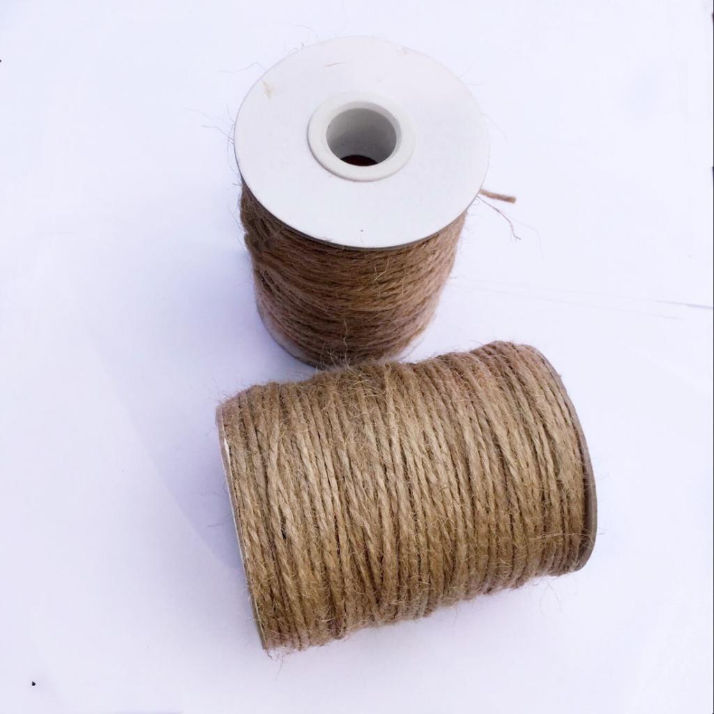 50 M 2ply Cadena De Yute Cordel de sisal Marrón Suave Natural Arpillera Rústico Cable Arpillera